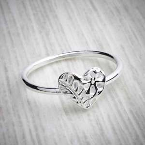 Silver clay heart stacking ring by Elin Mair