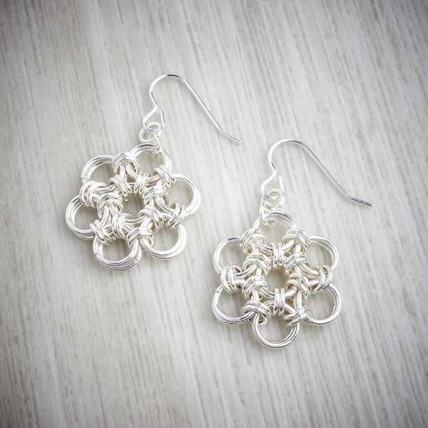 Silver Chainmaille Flower Earrings by Laura Brookes