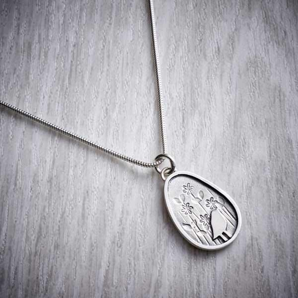 Bird in the meadow pendant by Helen Shere,