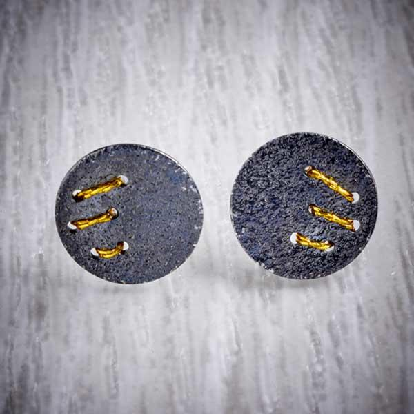 Oxidised Silver Stud Earrings with Gold Thread Slash by Sara Bukumunhe