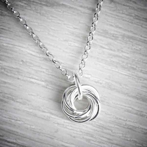 Silver Small Single Celtic Knot Necklace by Laura Brookes