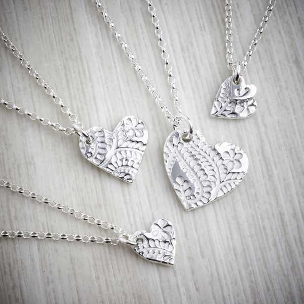 floral heart silver necklace