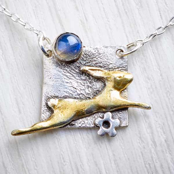 silver rabbit and pearl necklace