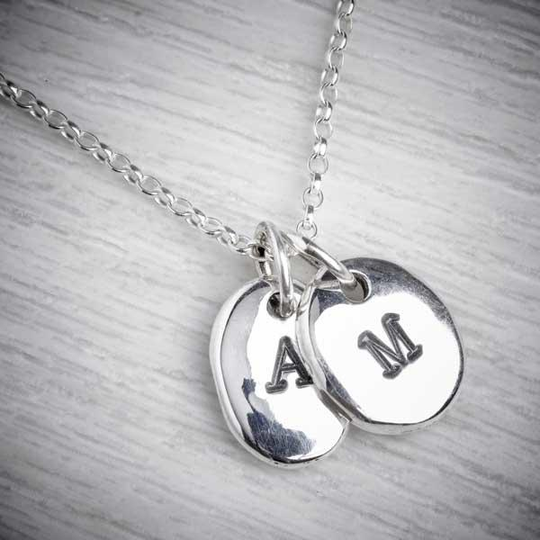 Two Silver Personalised Initial Pendants on Necklace by Emma White