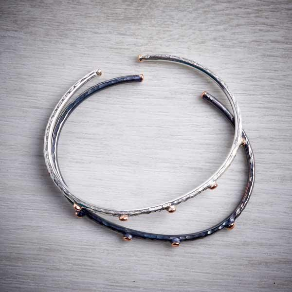 Handmade black silver bangle with rose gold nuggets and silver bangle with rose gold nuggets