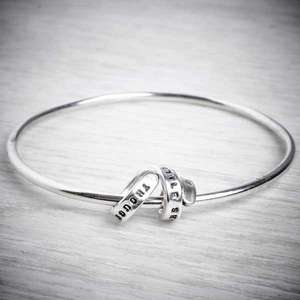 Silver Bangle with Personalised Story Spiral by Emma White.