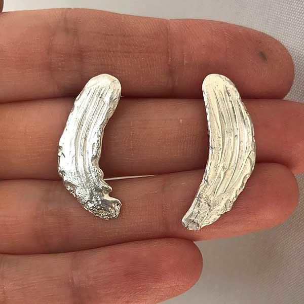 Silver Clay Brushstroke Earrings by Becca Macdonald for THE JEWELLERY MAKERS in the hand