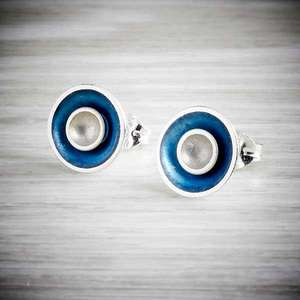 Enamel earrings in modern colours by Kokkino