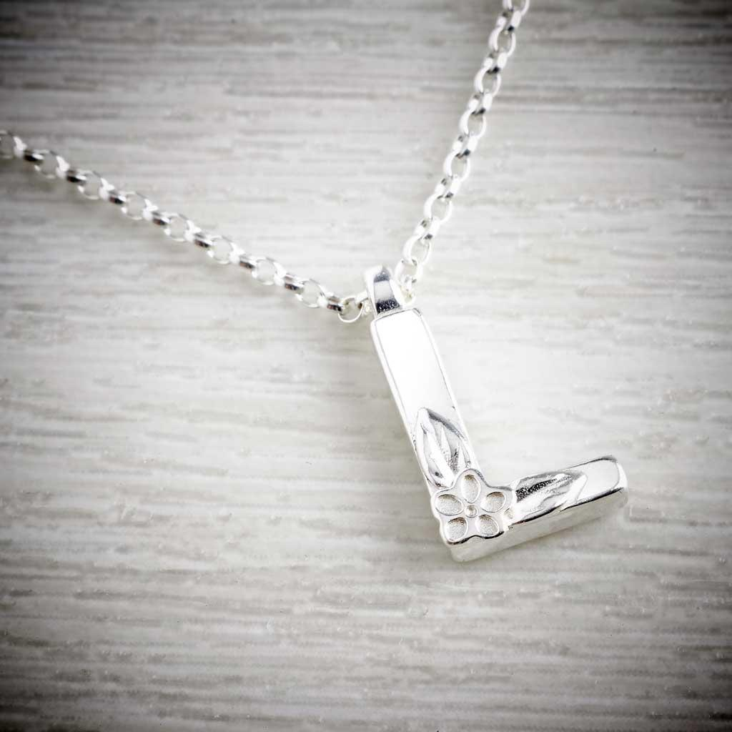 Silver Letter L Necklace, made by Elin Mair, Image property of THE JEWELLERY MAKERS