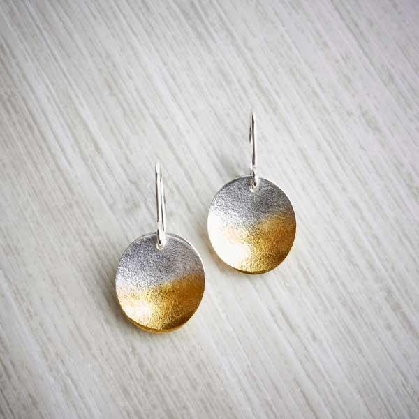 Electra, Large Silver and Gold Drop Earrings by Melanie Ankers, Kokkino. Image property of THE JEWELLERY MAKERS