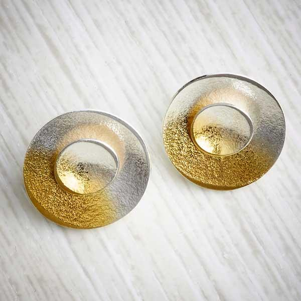silver and gold ombre double stud earrings by Melanie Ankers, Kokkino. Image property of THE JEWELLERY MAKERS