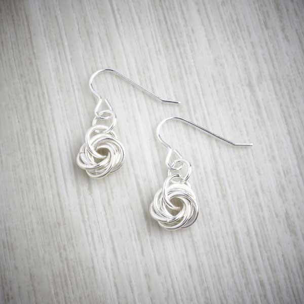 Silver Single Knot Earrings by Laura Brookes