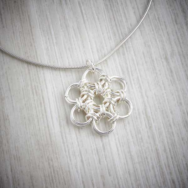 Silver Flower Chainmaille Pendant by Laura Brookes detail