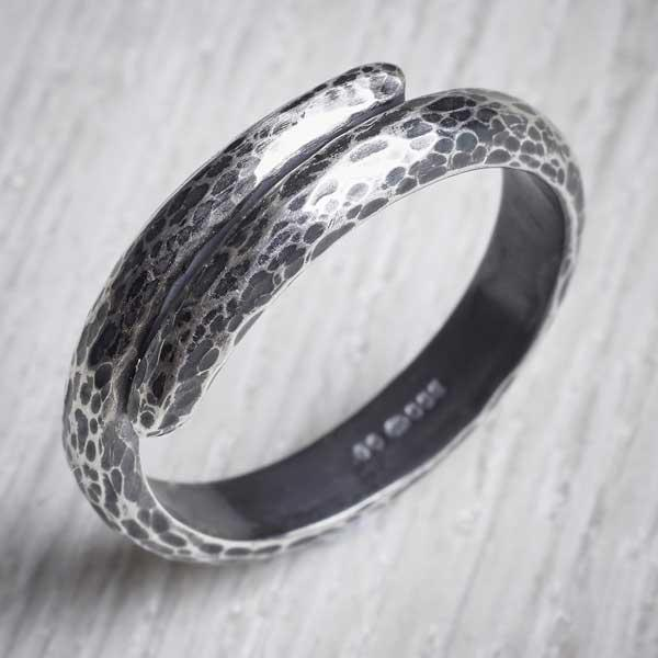 Dimpled silver oxidised ring