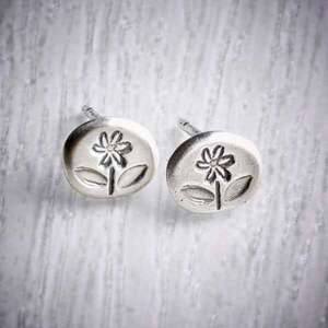 Tiny Silver Flower Stud earrings by Helen Shere