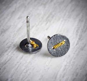 Small Round Oxidised Silver Studs sewn with gold thread by Sara Buk