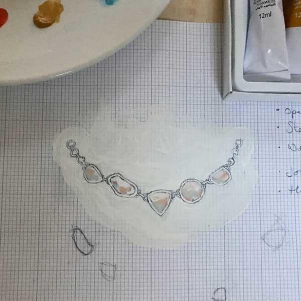 Jewellery design, drawings for handmade opal necklace, painted in graph paper with paint in the background