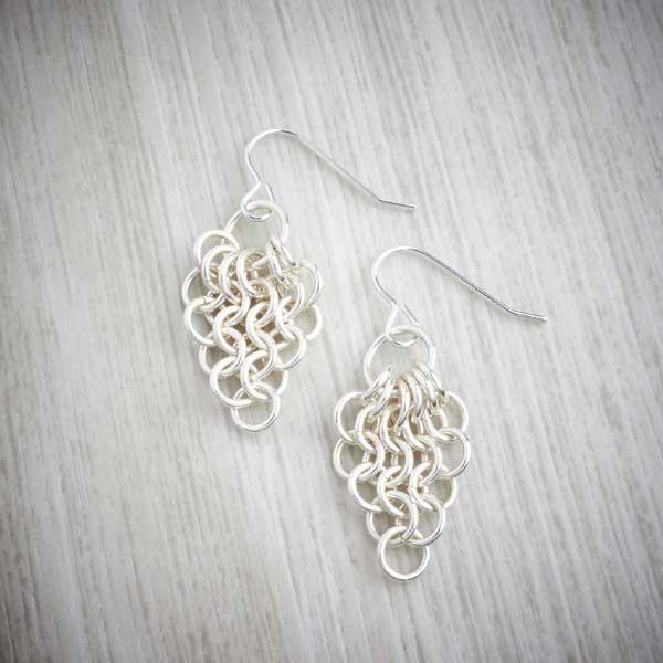 Silver Chainmaille Cascade Earrings by Laura Brookes, image property of THE JEWELLERY MAKERS