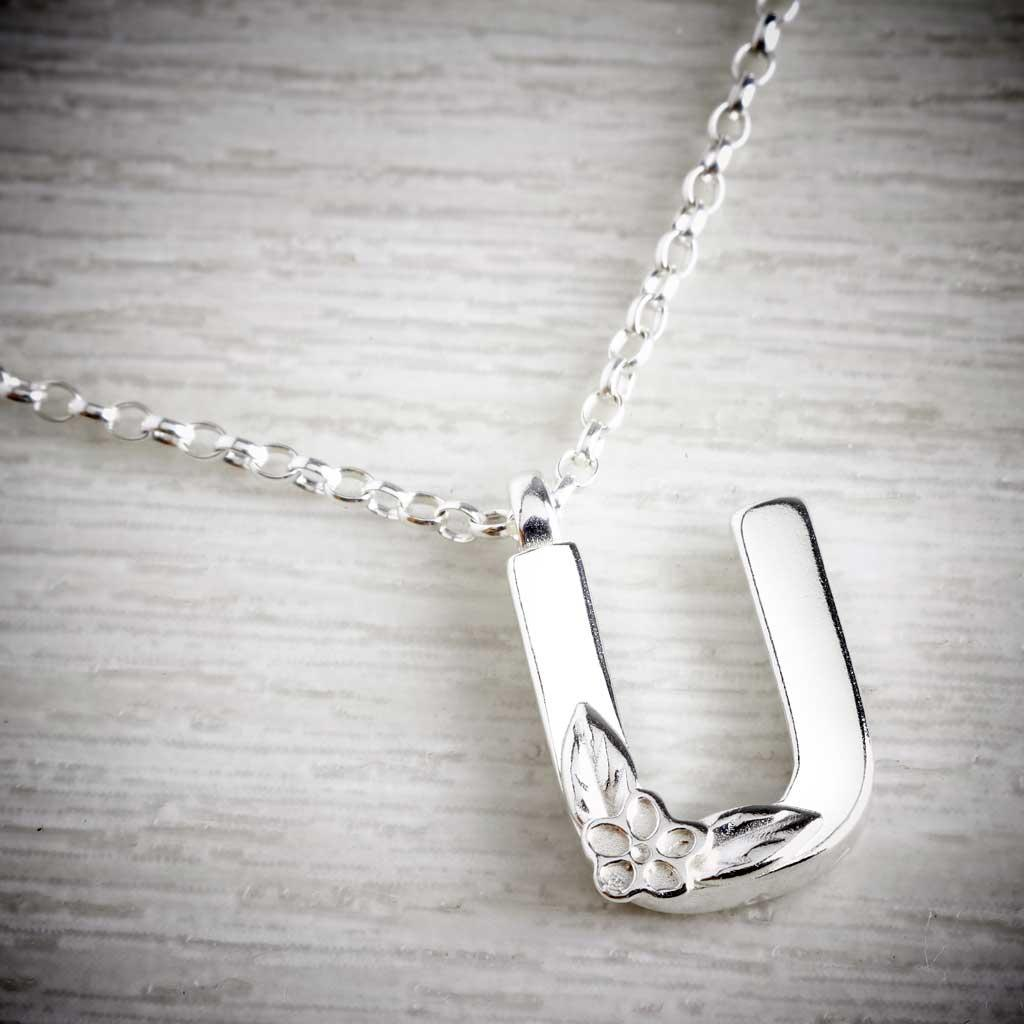 Silver Letter U Necklace, made by Elin Mair, Image property of THE JEWELLERY MAKERS