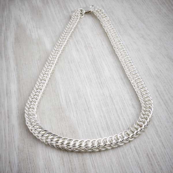 Silver Chainmaille Half Persian Necklace by Laura Brookes