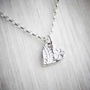 Silver Clay Small Floral Heart Necklace by Elin Mair