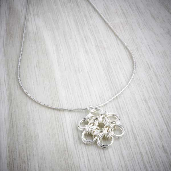 Silver Flower chainmaille Pendant by Laura Brookes