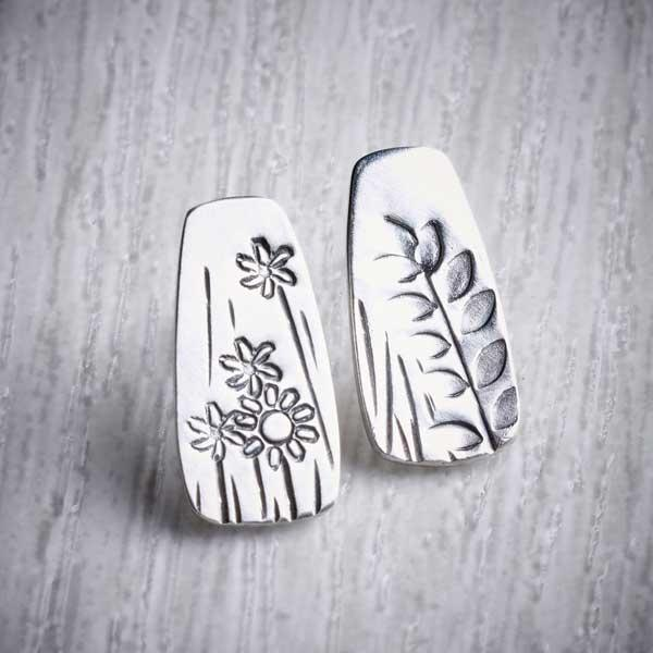 Silver Mismatched Stamped Stud Earrings by Helen Shere