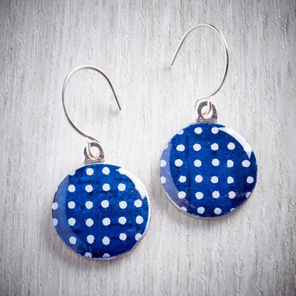Indigo Sixpence Earrings and Tiny Tin by Leigh Shepherd. image property of tHE JEWELLERY MAKERS.