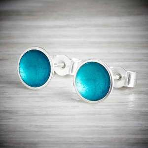 Halo Midi Stud enamel earrings in Aqua by Kokkino