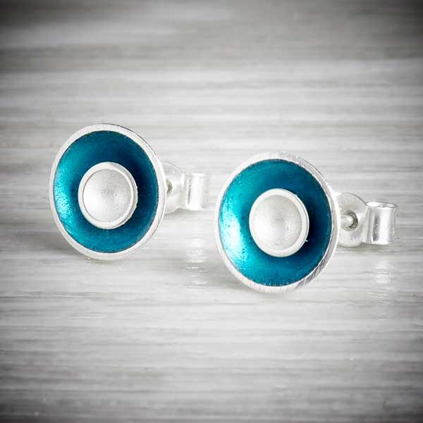 Enamel earrings in modern colours by Kokkino, blue