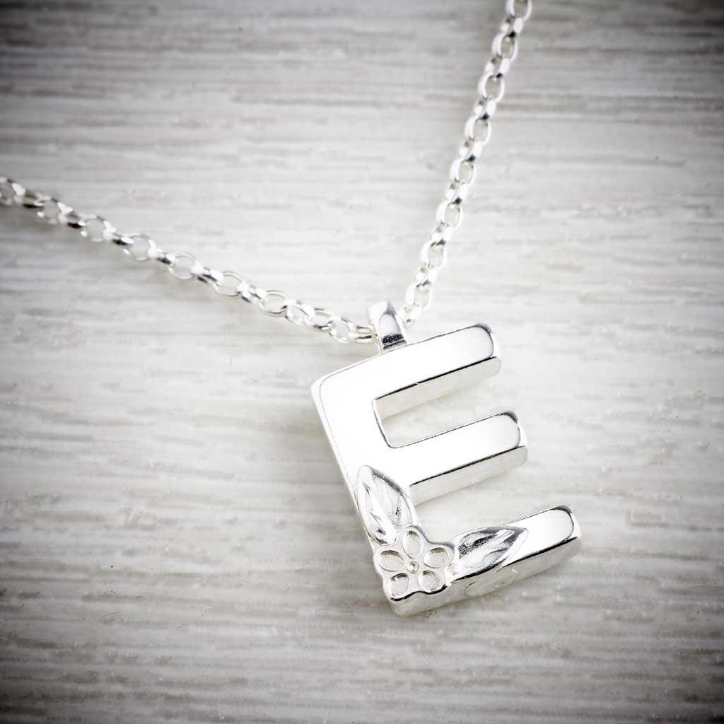 E initial silver necklace