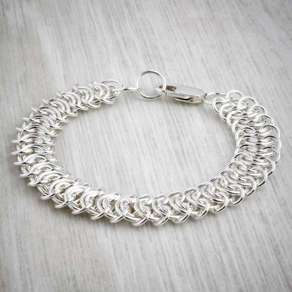 silver chainmaille King's Chain Bracelet by Laura Brookes. Image property of THE JEWELLERY MAKERS