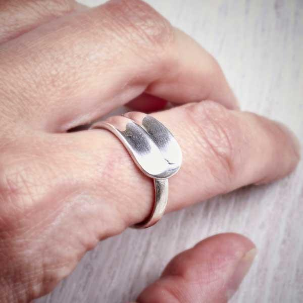 Hanovar - Antique Silver Spoon Ring by Evie Milo, Milomade, shown worn on. Image property of THE JEWELLERY MAKERS