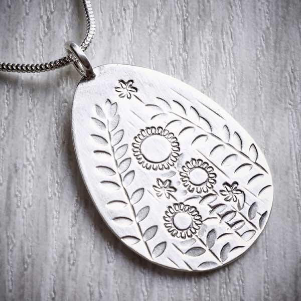 Silver Summer Garden, Stamped Pendant, by Helen Shere