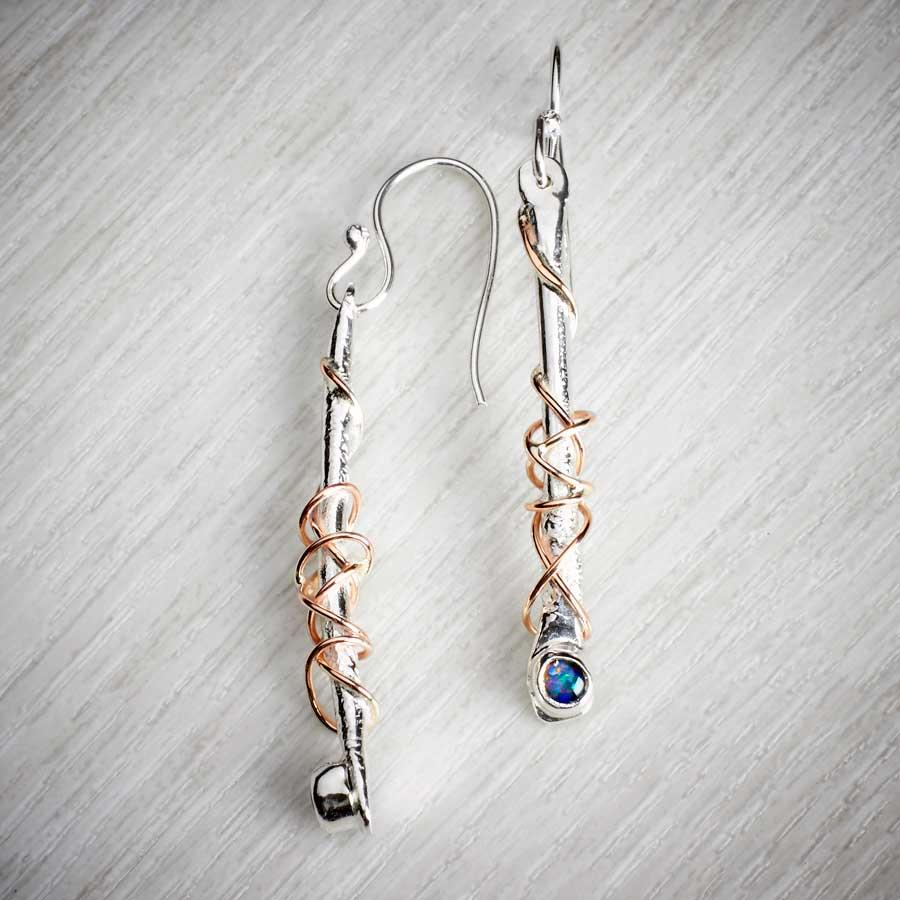 silver and gold and gemstone earrings handmade by Sally Ratcliffe