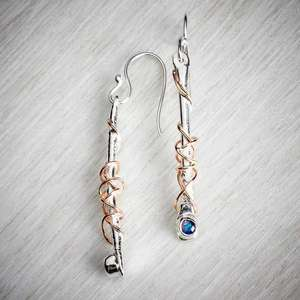 silver and gold and gemstone earrings handmade by Sally Ratcliffe, image property of THE JEWELLERY MAKERS
