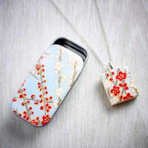 scrabble tile floral resin necklaces by Leigh Shepherd