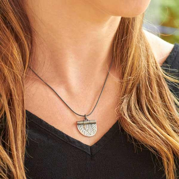 Silver Vines Stamped Necklace by Helen Shere, worn by model