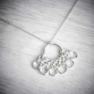 Silver Chainmaille Fan Necklace by Laura Brookes.  Image property of THE JEWELLERY MAKERS