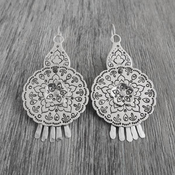 Handmade boho mandala earrings in recycled silver for THE JEWELLERY MAKERS by Evie Milo