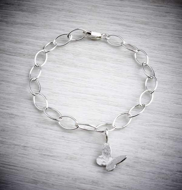 Silver handmade butterfly bracelet on nanette chain, made by Jewellery Maker, Emma White
