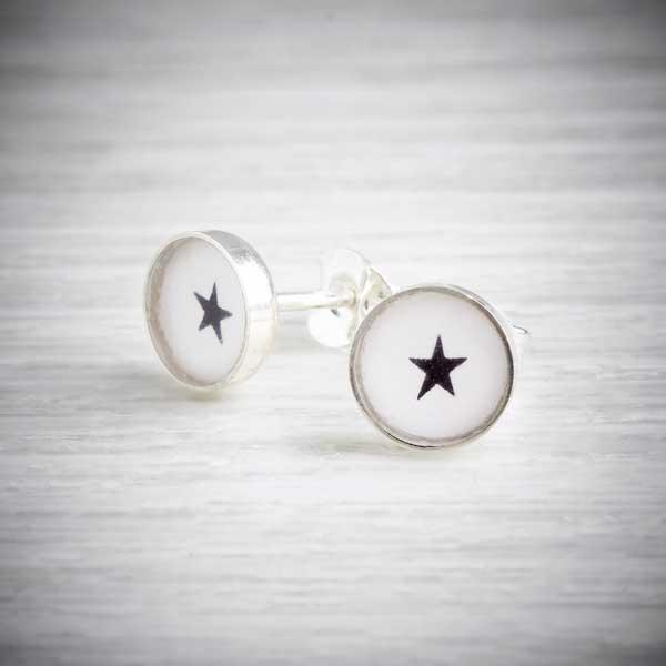 Small handmade silver and resin earrings with little hearts by Clare Collinson