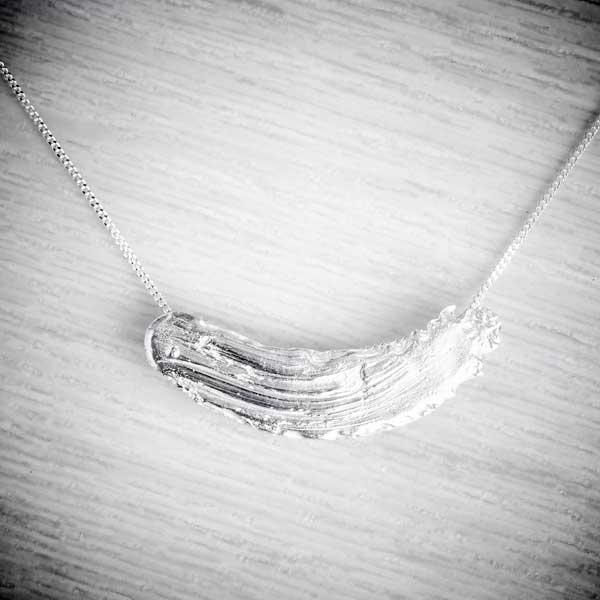 Silver Clay Brushstroke Artisan Necklace by Becca Macdonald