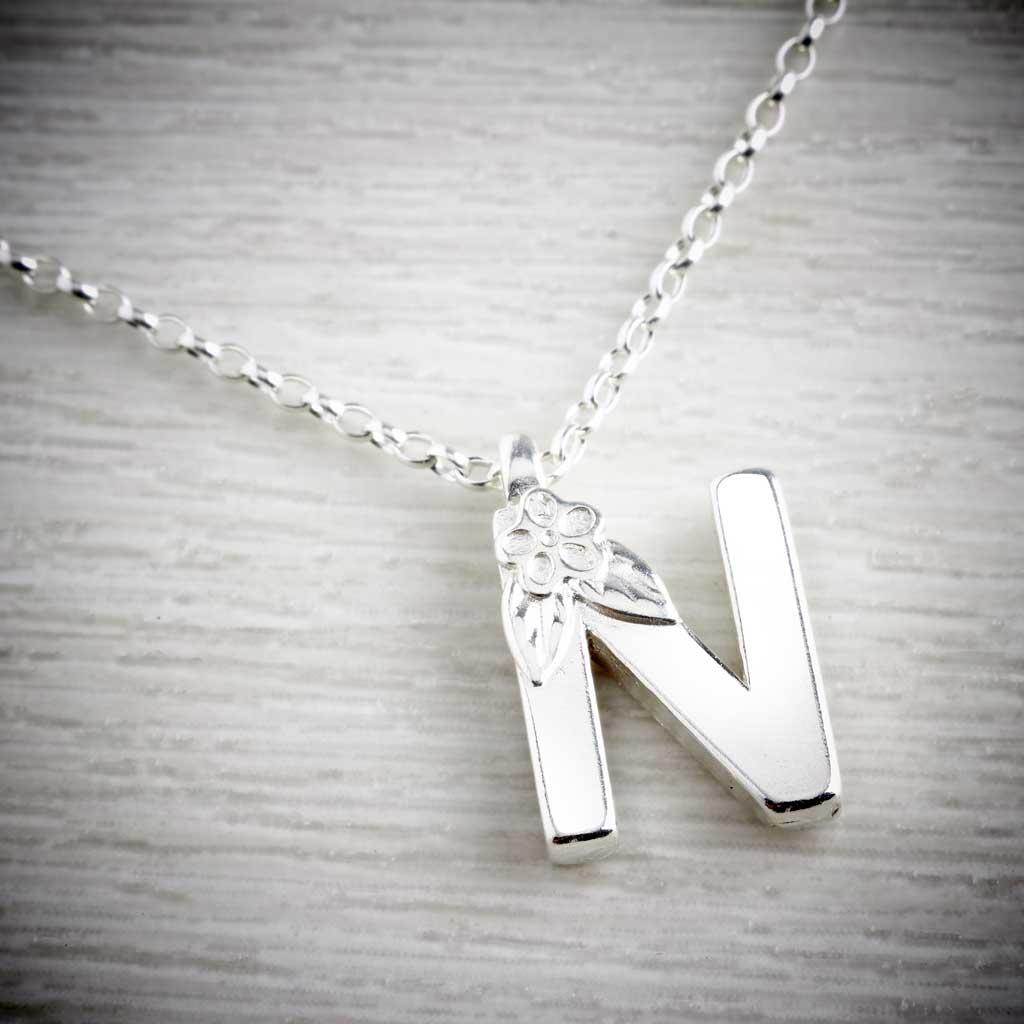 Silver Letter N Necklace, made by Elin Mair, Image property of THE JEWELLERY MAKERS
