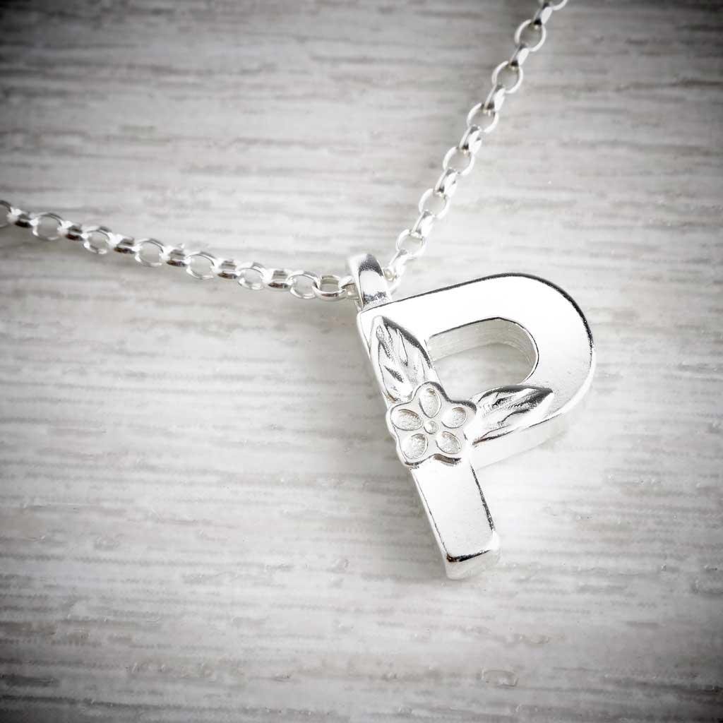 Silver Letter P Necklace, made by Elin Mair, Image property of THE JEWELLERY MAKERS