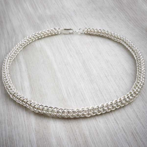 Silver Chainmaille Full Persian Necklace by Laura Brookes