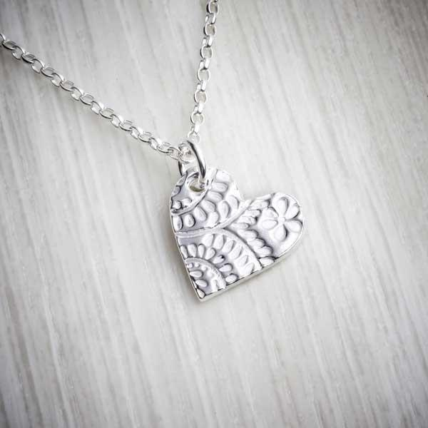 Silver Clay Medium Floral Heart Necklace by Elin Mair