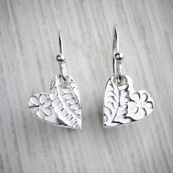 Silver Clay Small Floral Heart Drop Earrings by Elin Mair