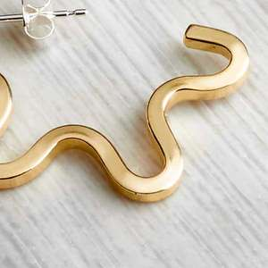 Brass wiggle hoops by Alice Chandler Crop shot. Image property of THE JEWELLERY MAKERS