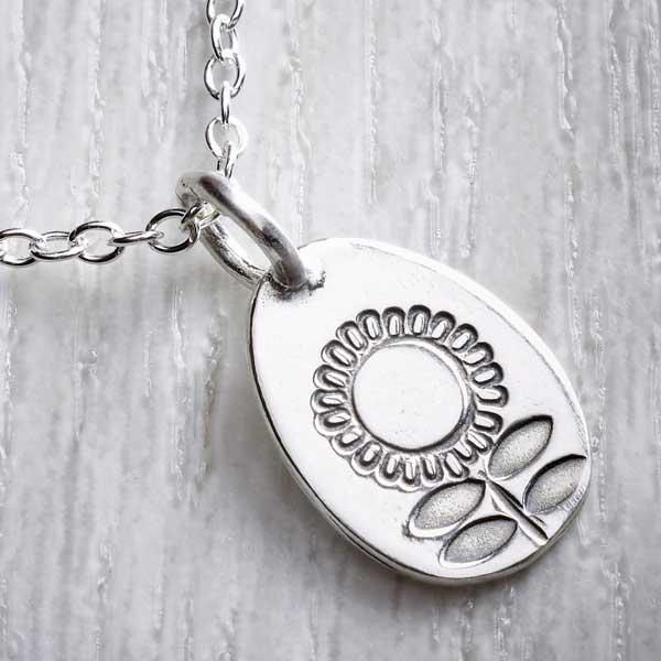 Silver Stamped SummerCharm Necklace, made by Helen Shere. Photograph property of THE JEWELLERY MAKERS